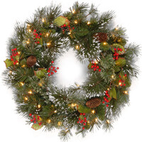 """Wintry Pine Pre-Lit PVC Artificial Christmas Wreath 24"""" by National Trees"""