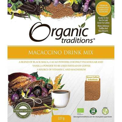 Organic Traditions Gluten Free Macaccino Drink Mix 227g