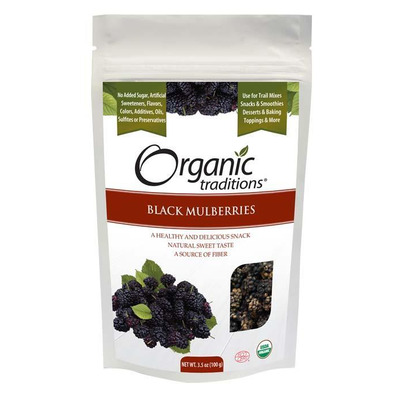 Organic Traditions Gluten Free Black Mulberries 100g
