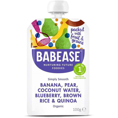 Babease Organic Banana, Pear & Blueberry with Brown Rice 100g - Stage 1 - Box of 8