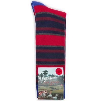 Ted Baker Golf Socks Stripe Crew Red SS17