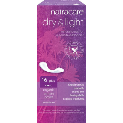 Natracare Dry & Light Incontinence Pads Plus - Pack of 16