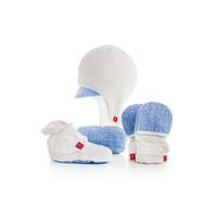 Goumi Newborn Hat, Mitts and Bootie gift set - Sketch Blue