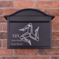 Personalised Black Dublin Postbox With Isle of Man Triskelion Design