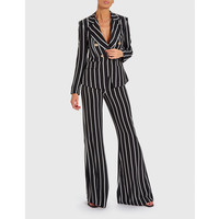 Forever Unique Womens Cara Striped Blazer With Military Buttons -