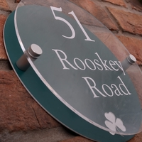 Modern Acrylic Round House Sign With Irish Shamrock Emblem