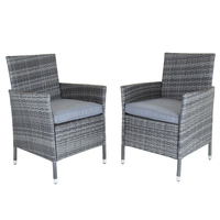 Charles Bentley Pair Of Rattan Dining Chairs (Colour: Grey)