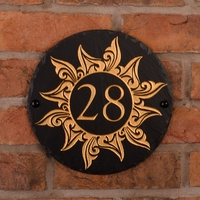 Round Rustic Slate House Number with Golden Sun 1 Image