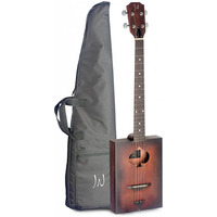 Acoustic Cigar Box Guitar 4 String with Soft Case