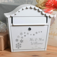 Personalised Winter Wedding Letterbox With Name Date and Snowflakes