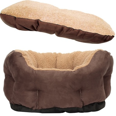 Lazy Bones Suede Sheepskin Oval Dog Beds