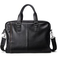 Hautton Unisex Soft Leather Tote Laptop Messenger Bag - Black