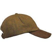 Walker & Hawkes Unisex Leather Peak Brown Tweed Baseball Cap - Brown Tweed