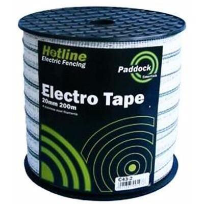 Hotline Paddock White Electric Fence Tape (Bulk) - 200m - 12mm