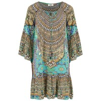 Gypsy Silk Printed Dress - Emerald