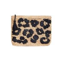Leopard Embroidered Raffia Clutch - Black