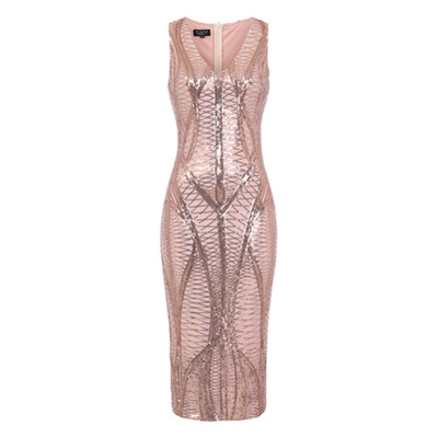 ICONIC LUXE EMBELLISHED SEQUIN PENCIL MIDI DRESS STYLES