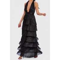 FOREVER UNIQUE MARLEEN METALLIC BLACK MAXI DRESS - 10