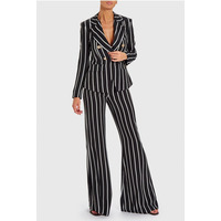 FOREVER UNIQUE CARA STRIPED BLAZER - 8 / Black