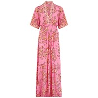 Rachel Kimono Maxi Dress - Pink Allium