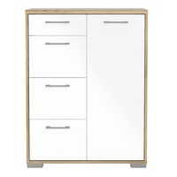 Furniture To Go &pipe; Homeline 4 Drawers 1 Door Sideboard in Oak with White High Gloss