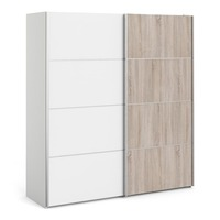 FTG &pipe; Verona Sliding Wardrobe 180cm in White with White and Truffle Oak Doors with 5 Shelves