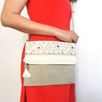 Natural Colour Bohemian Purse - Foldover Clutch Bag|Harfi