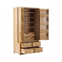 Henley Handmade Oak Kitchens 2 Door 10 Drawer Larder Cabinet with soft close drawers