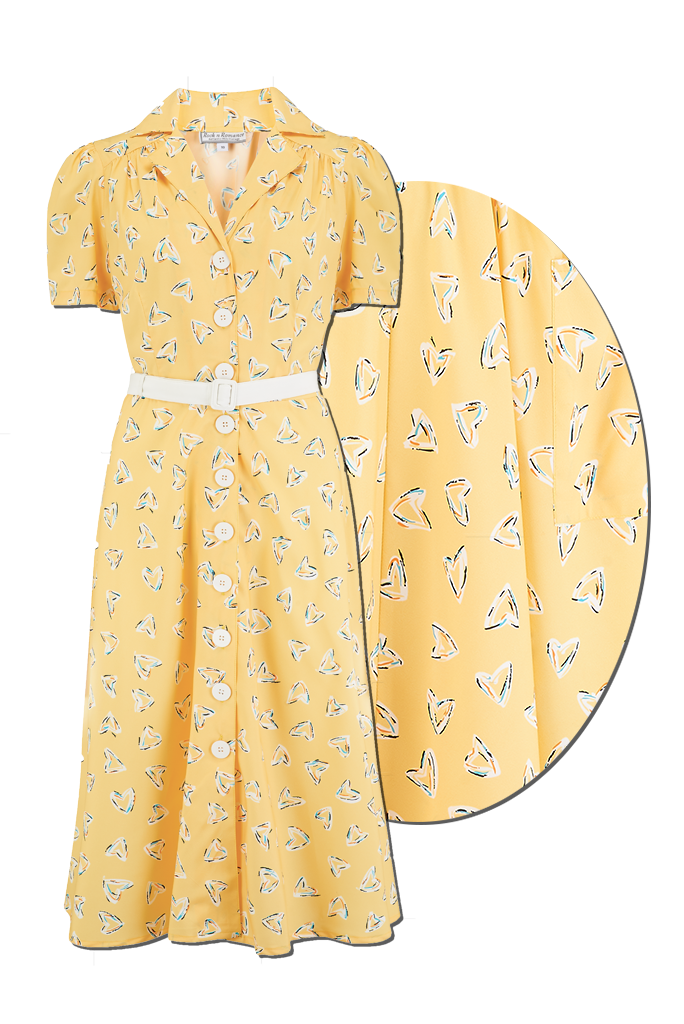 1940s Dresses | 40s Dress, Swing Dress Charlene Shirtwaister Dress in Yellow Abstract Heart Print Perfect 1950s Style £49.00 AT vintagedancer.com