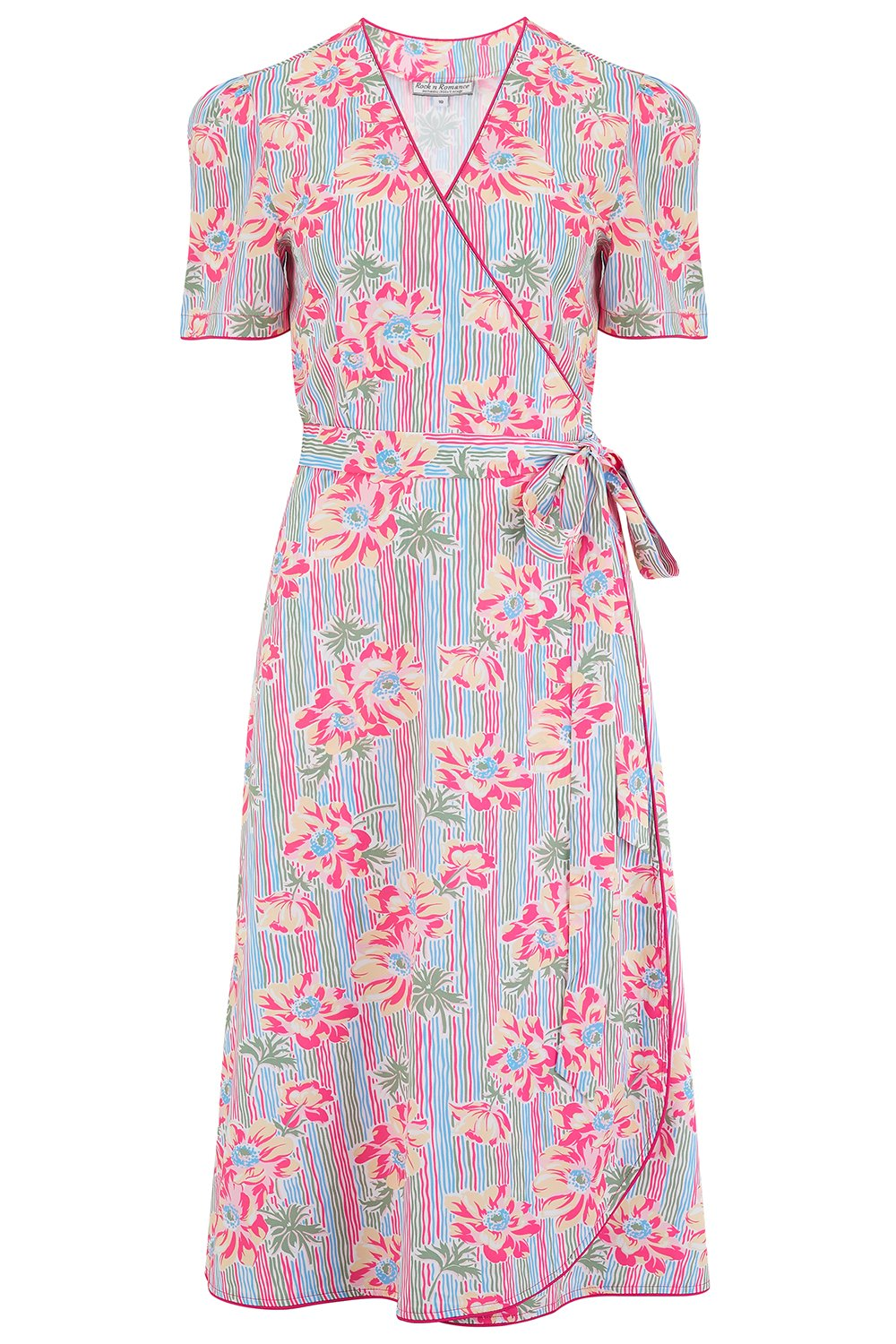 Swing Dance Clothing You Can Dance In Cora Full Wrap Dress in Pacific Garden Print Perfect 1950s Style £49.00 AT vintagedancer.com