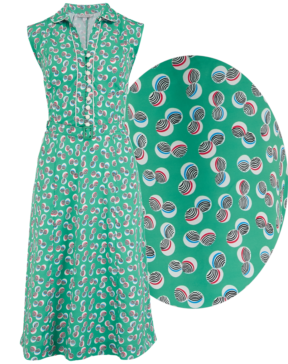 Swing Dance Dresses | Lindy Hop Dresses & Clothing Margot Dress in Green Abstract Polka Print Perfect 1950s Style £55.01 AT vintagedancer.com