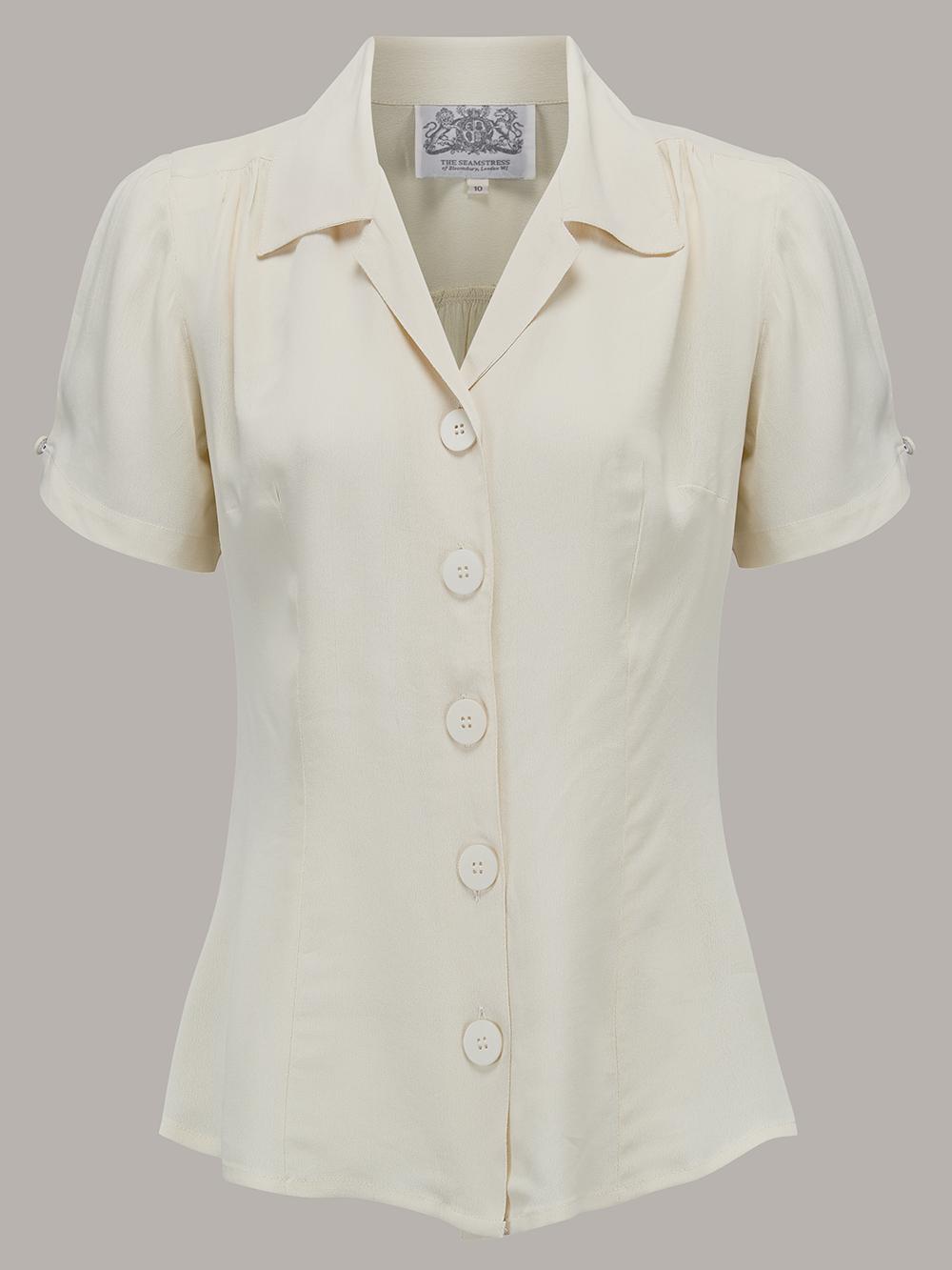 1940s Dresses and Clothing UK | 40s Shoes UK Grace Blouse - Powder Blue 8 £39.00 AT vintagedancer.com