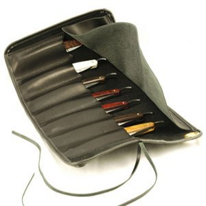 Thiers-Issard Black Leather Razor Case Roll for 7 Razors