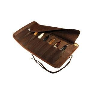 Thiers-Issard Brown Leather Straight Razor Case Roll for 7 Razors