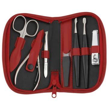 Sonnenschein Exclusiv German Made 7 Piece Red Leather Manicure Set