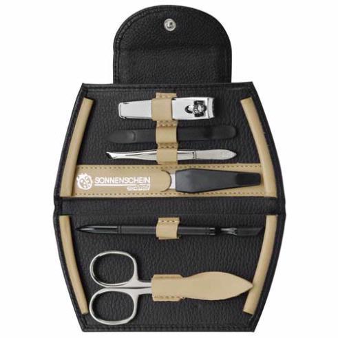 Sonnenschein Exclusiv Black And Beige Leather 6 Piece Manicure Set