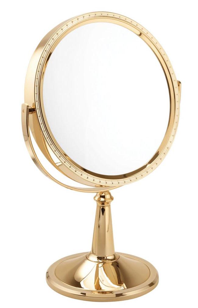 10x Magnification Gold Pedestal Mirror