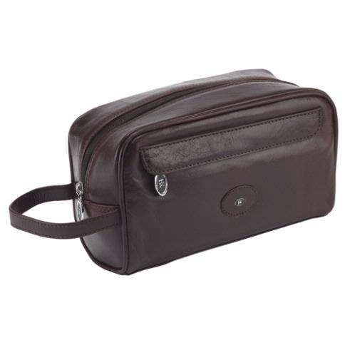 Hans Kniebes Brown German Made Leather Wash Bag