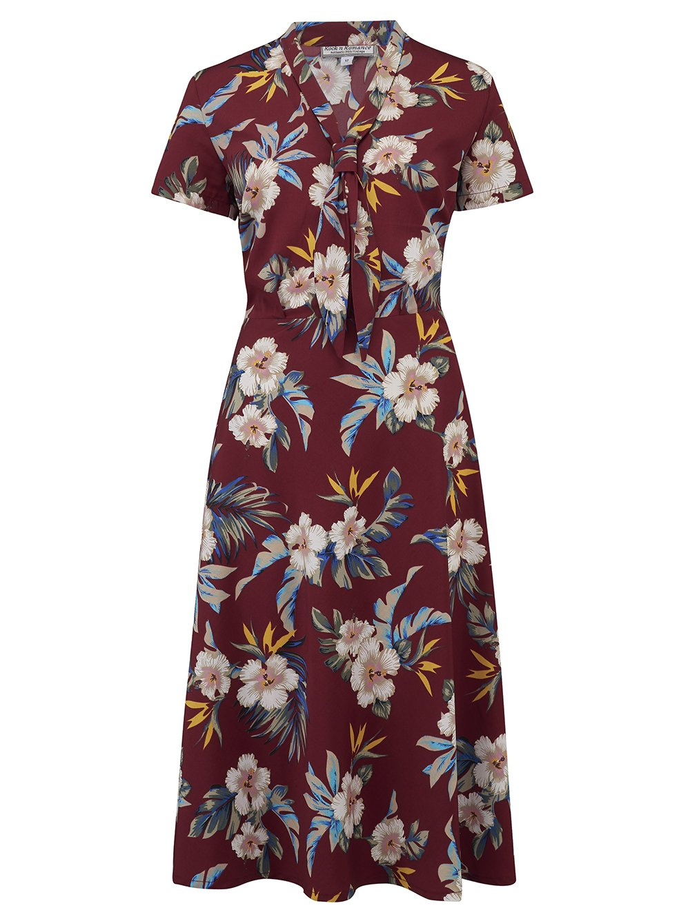 1940s Dresses | 40s Dress, Swing Dress Sample Sale Jean Tea Dress in Wine Hawaiian Print Perfect 1950s Tiki Style £25.00 AT vintagedancer.com