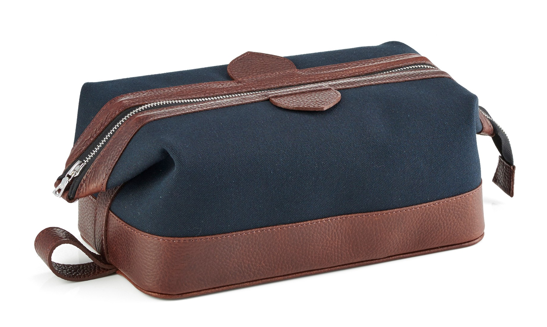 Daines and Hathaway Brown Leather and Navy Canvas Wash Bag