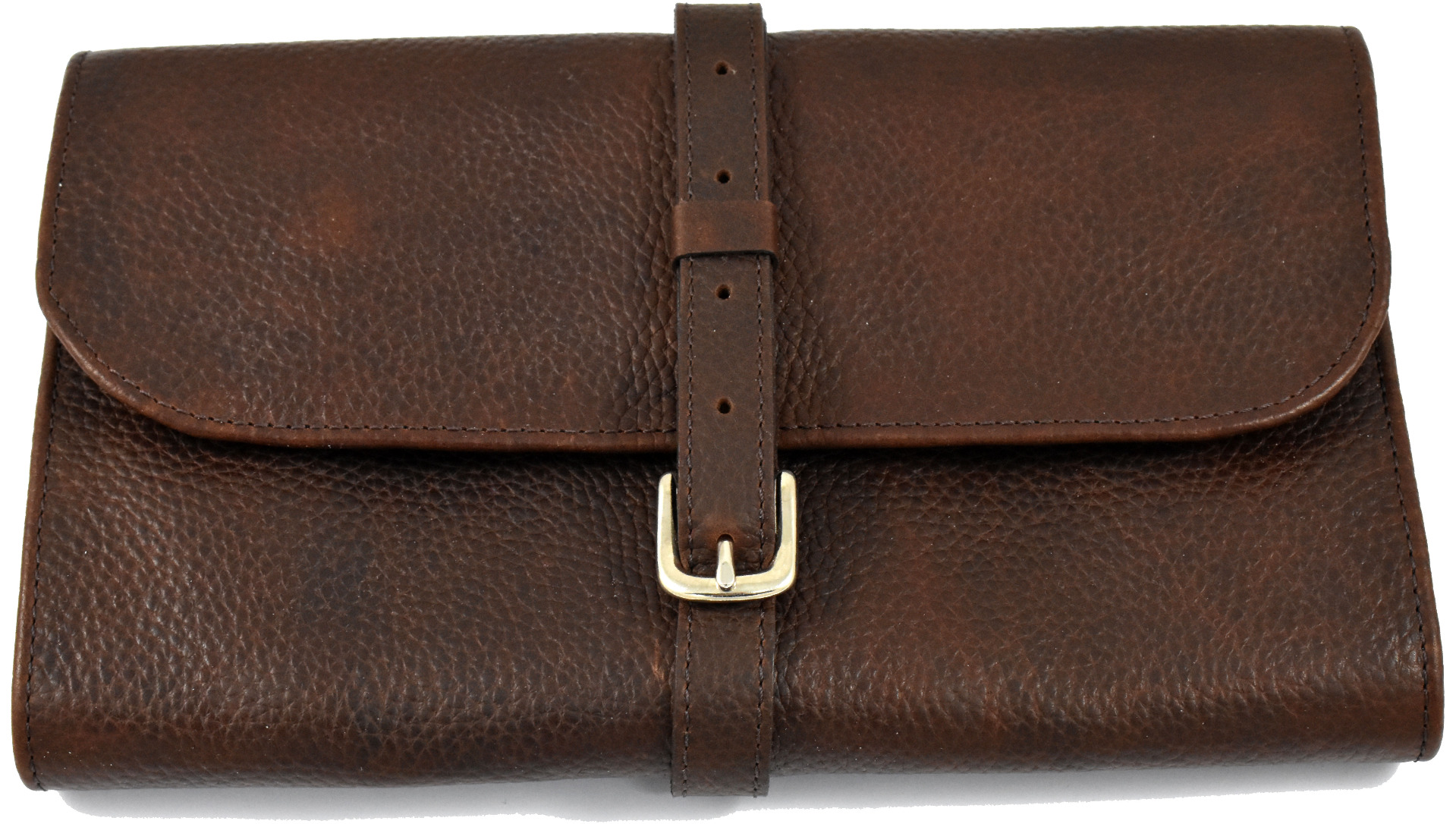 Daines and Hathaway Brown Leather and Navy Canvas Utility Roll