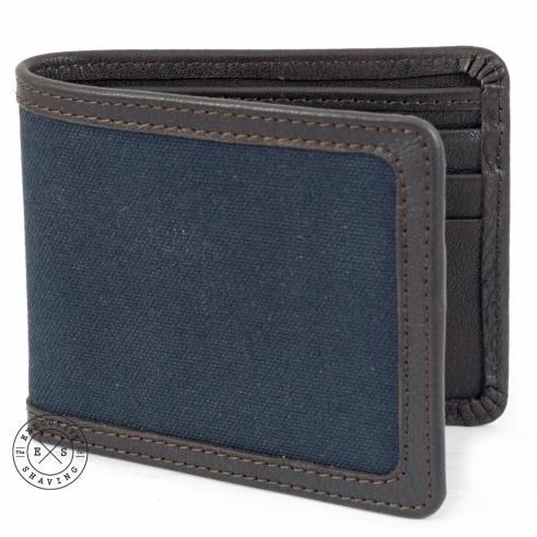 Daines and Hathaway Brown Leather and Navy Canvas Wallet