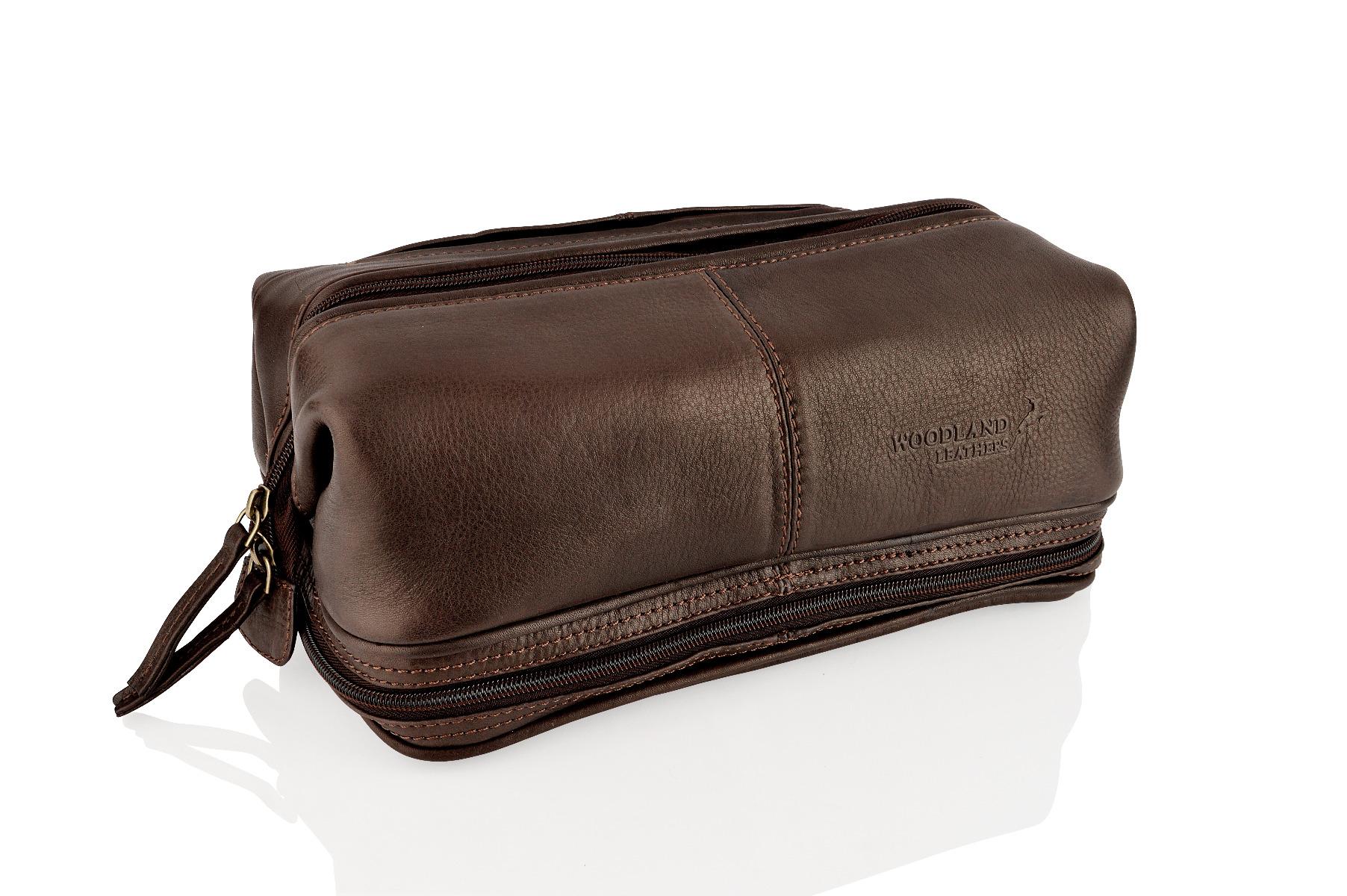 Ambassador Large Leather Wash Bag Brown