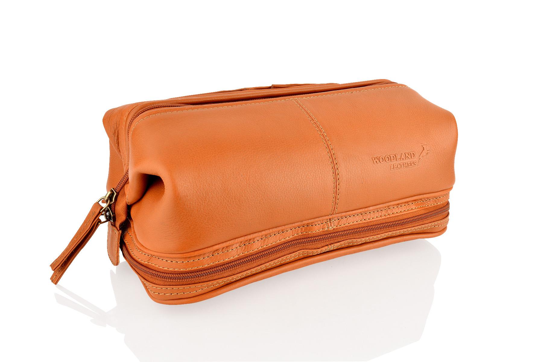 Ambassador Large Leather Wash Bag Tan