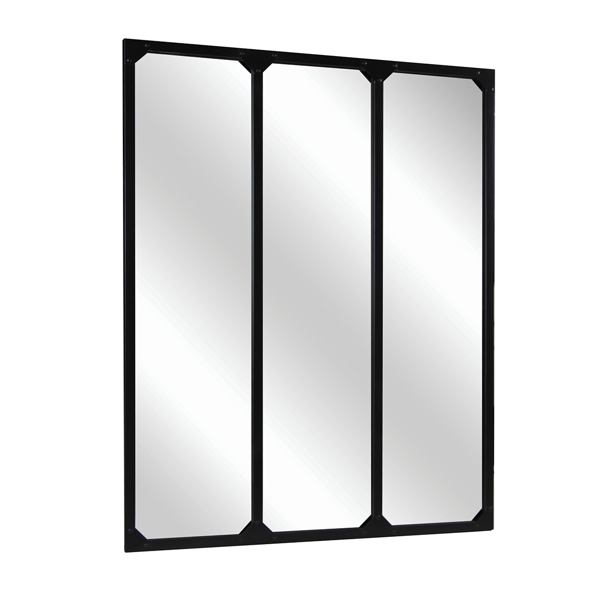 Charles Bentley Large Industrial Mirror Black 95x120cm