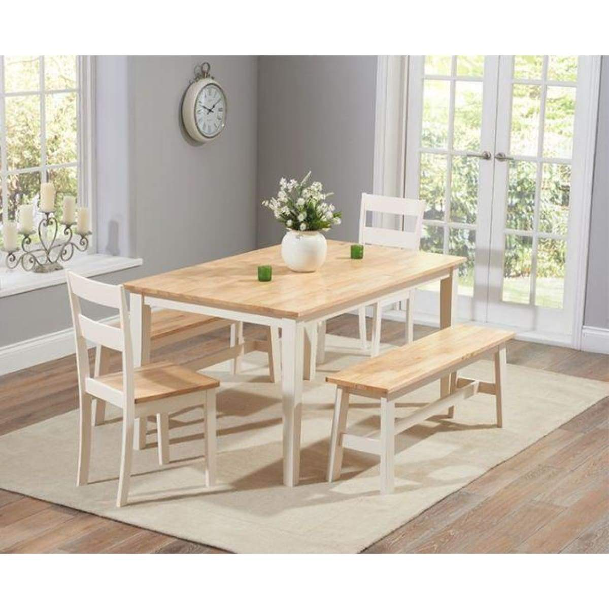 Serene Furnishings Pipe Chichester 150cm Dining Table 4 Chairs 1 Large Bench Oak Creamwhiteoak Greyoak White