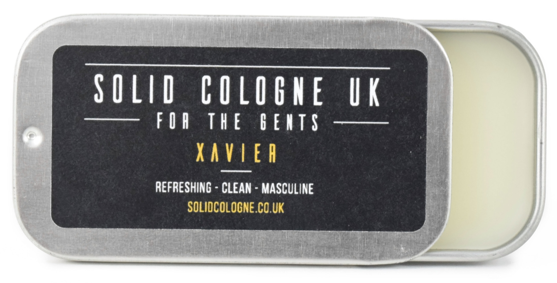 Solid Cologne Xavier Scent 0.5oz in Travel Tin