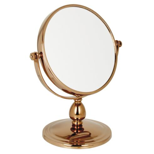 10x Magnification Pedestal Mirror with Rosegold Finish