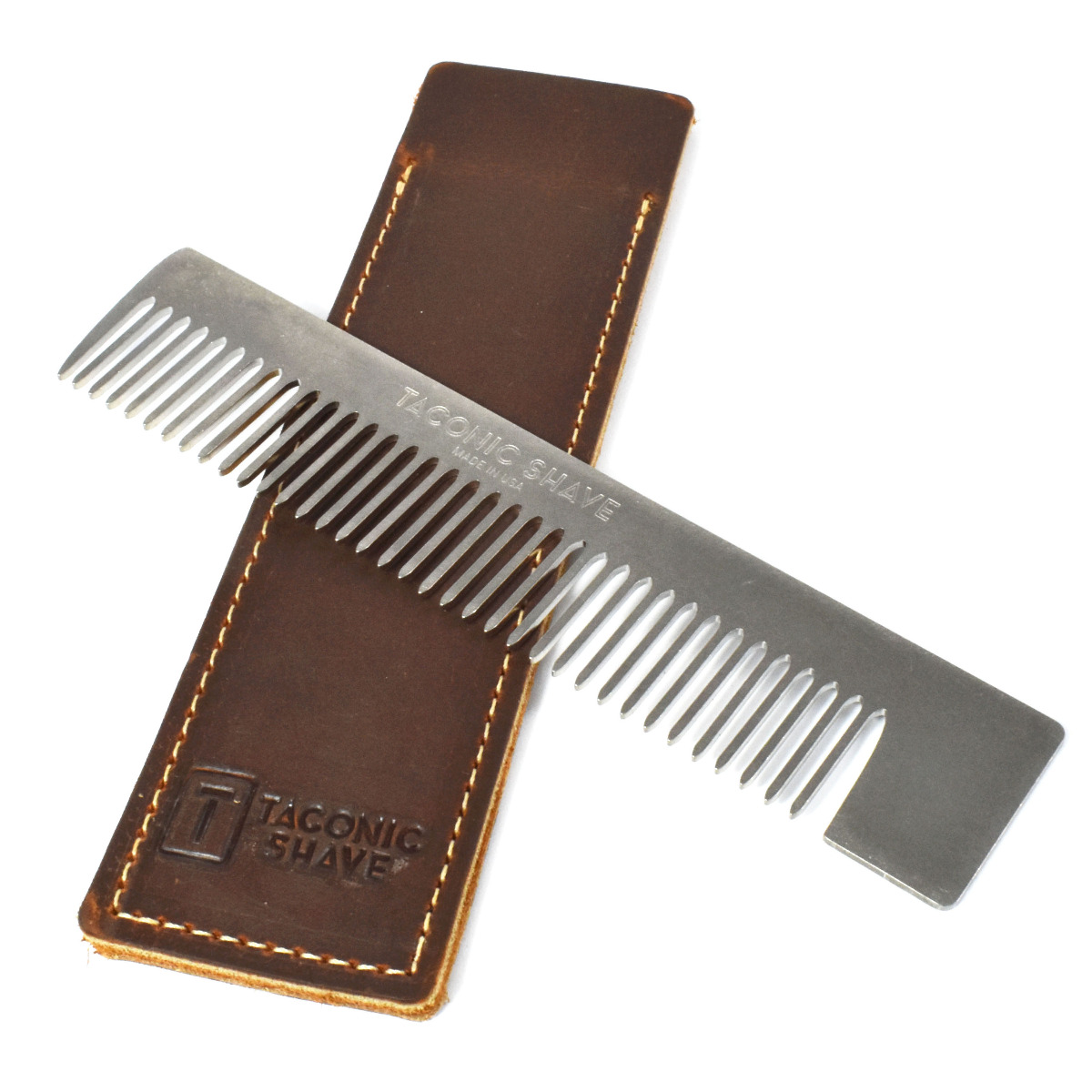 Taconic Shave Stainless Steel Pocket Comb and Leather Case
