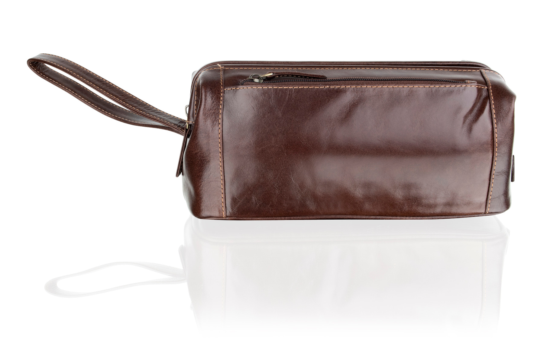 Woodland Leathers Chestnut Brown Stay Open Washbag (D)